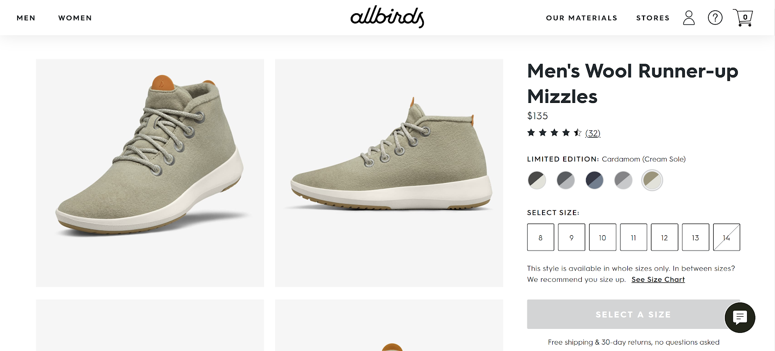 Price and variations from Allbirds