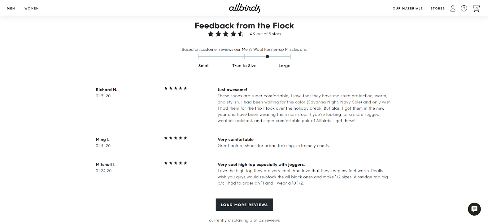 Feedback form from Allbirds
