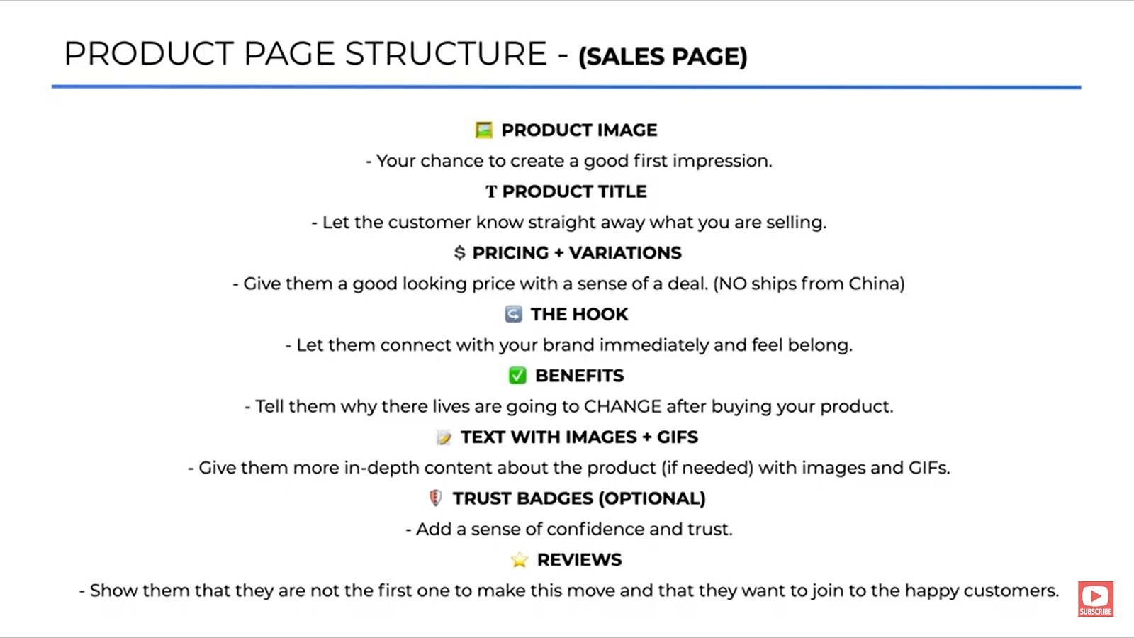 High converting product page structure
